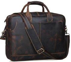 Large Genuine Leather Professional Men's Briefcase Messenger Tote Bag - 17