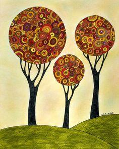 Autumn Sunrise Fine Art Print Trees Landscape by ValerieLorimer, $30.00