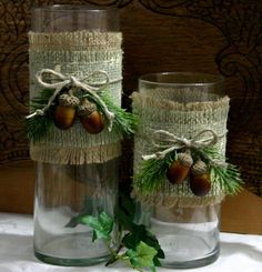 Outdoor burlap wedding centerpiece ...could also use the burlap with other ribbon and florals
