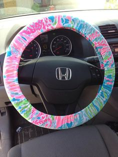 Steering Wheel Cover made with Lilly Pulitzer Let's Cha Cha fabric on Etsy, $29.95