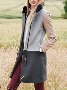 Mantel Langarm mit Color-Blocking-grau