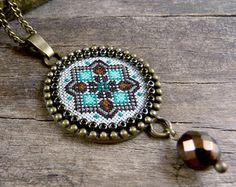 Purple flower cross stitch necklace Art nouveau by TriccotraShop