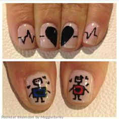 So in love with these robot Valentine's Day nails!