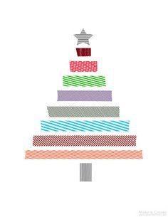 The Latest Find's Make It Create - DIY, Tutorials, Recipes, Digital Freebies: Washi Christmas Tree Printable