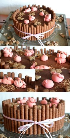 Farm Themed First Birthday Party Cakes pig in mud cake Birthday Cake Cookies, First Birthday Cakes, Birthday Party Desserts, Pigs In Mud Cake, Cake Recipes, Dessert Recipes, Baking Desserts, Sweet Recipes, Farm Cake