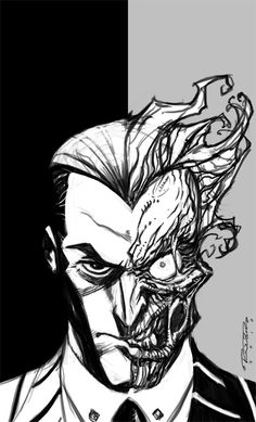 Sketch::Two-Face by KharyRandolph on DeviantArt