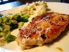 4 thin-sliced, boneless center cut pork chops  2 cups low-fat buttermilk  2 cups panko bread crumbs  1/3 cup flour   1/2 teaspoon salt  1/2 teaspoon pepper  1/2 cup grated parmesan cheese + a little more for garnish  3 tablespoons olive oil  3/4 cup chicken stock