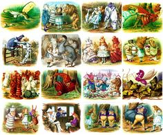 - Alice in Wonderland by John Tenniel Collage Page - 16 images on a sheet - Can be used for any art project, altered art, decoupage, jewelry etc - Professionally printed on medium weight cardstock