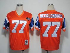 115723e4e34 Mitchel and Ness Broncos #77 Karl Mecklenburg Orange With 75 Anniversary  Patch Embroidered Throwback NFL. Football JerseysCheap ...