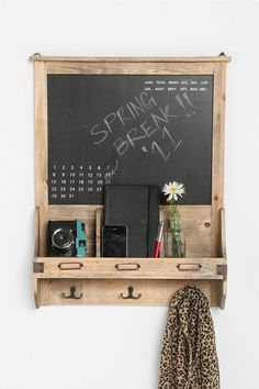 "bookshelf, coat rack, calendar, and note board from handcrafted wood? Oh, I love beautiful things with multiple uses. :) ""Vintage Wood Calendar Chalkboard"" via urban outfitters"