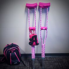 I love my pink crutches and Crutcheze crutch pads. They are SO FRIGGIN EASY to decorate by Alissa Henry.