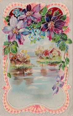 1910 Embossed Antique Floral Birthday Postcard Purple Clematis Flowers Lake | eBay