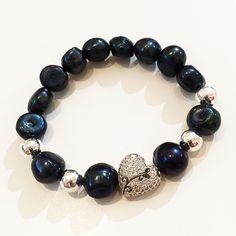 Bracelets By Vila Veloni Black Balls and Silver Heart