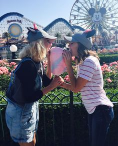 Best friends. Disneyland. Pictures. Mickey Mouse. Cotton Candy