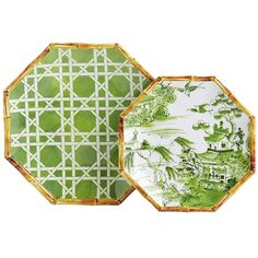 Go retro with our classic Lattice Dinnerware. The melamine dinner plate is bright green-on-white while the salad plate depicts a traditional Chinese scene. Both feature decorative bamboo-look rims and are dishwasher safe.