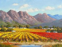 African Art Paintings, Oil Paintings, South African Artists, Landscape Art, Farms, Landscaping, Illustration Art, Abstract, Places