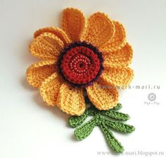 "Mark-Mari: Цветочек ""Июль №6"" - ""July №6"". Crochet Flower with diagram."