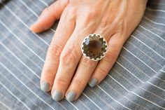 Big sterling silver smoky quartz ring, Simple clean design. Gemstone statement ring. Rustic. Cocktail ring. Gift for her. Anniversary. by TamyZurTachshit on Etsy