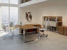 Escritorio de oficina con estantes Colección X7 by Quadrifoglio Sistemi d'Arredo diseño Ambostudio
