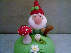 Garden Gnome  Snail  Mushroom  Figurine von countrycupboardclay