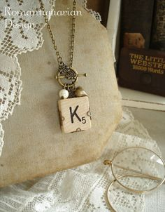 SCRABBLE Letter Necklace  Letter K by RomantiquarianDesign on Etsy, $29.50