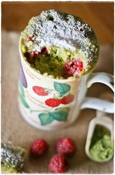 Raspberry and matcha mug cake