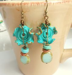 Sea Breeze Lampwork Ruffle Earrings,Lampwork Jewelry    These earrings are a beautiful sea green made with wavy disc lampwork purchased from a