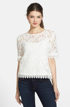 Pin for Later: We've Never Seen Amal Clooney Look This Edgy  KUT from the Kloth 'Asriel' Button Back Lace Top ($88)