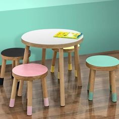 Nico & Yeye, Luxury Kid's Furniture With 18 color combinations, this piece is the perfect addition to make any Children room unique. Meet our first Play Table and Stools. Will be available in 9 colors. Baby Furniture Sets, Kids Playroom Furniture, Toddler Furniture, Furniture Direct, Playroom Ideas, Furniture Plans, Office Furniture, Kids Table And Chairs, Play Table