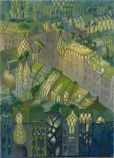 Roof gardens in bio-mimetic ecocity by Belgian architect Luc Schuiten - Toits jardins Green Architecture, Organic Architecture, Fantasy World, Fantasy Art, Architecture Organique, Art Nouveau, Eco City, Illustration Art, Illustrations