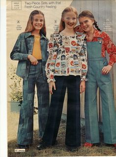 Bell bottoms and overalls. I remember wearing clothes like this.