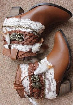 REWORKED LACE COWBOY BOOTS