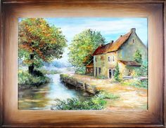 Obraz obrazy olejne dworek chata / stylowe zdobione ramy / chaty dworki Gallery, Painting, Beautiful, Decor, Art, Dekoration, Art Background, Decoration, Painting Art