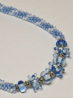 Set  Light Blue and Pearl Kumihimo Necklace with by GrnEydDesigns, $99.00