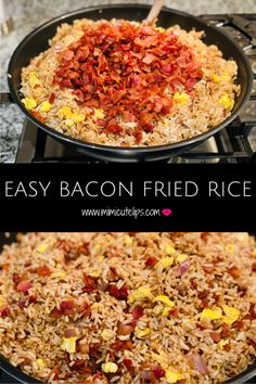 Have You Tried Bacon Fried Rice? – MimiCuteLips Have You Tried Bacon Fried Rice? – MimiCuteLips Easy Bacon Fried Rice receipe, a nice spin on an asian classic. Put your own spin on it and let me know how it turns out. Rice Recipes For Dinner, Easy Rice Recipes, Bacon Recipes, Side Dish Recipes, Asian Recipes, Cooking Recipes, Jalapeno Recipes, Burger Recipes, Jam Recipes