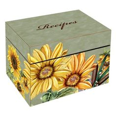 Lexington Studios Sunflowers Large Recipe Box