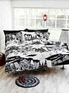 Moomin Night bed linen from Finlayson by Finlayson, Tove Jansson Duvet Bedding, Linen Bedding, Bedding Sets, Bed Linens, Dream Bedroom, Home Bedroom, Bedrooms, Bedroom Interiors, Desing Inspiration
