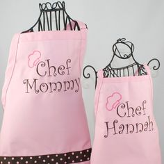Cute personalized aprons for mom and daughter