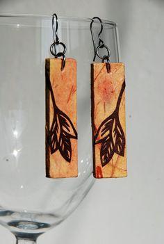 Salmon Leaf Hanji Paper Earrings Leaf Design Delicate by #HanjiNaty