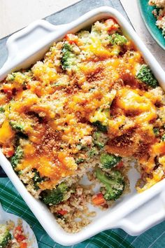 We traded white rice for whole-grain quinoa and kicked out any processed ingredients for a new take on this comfort classic. #myrecipes #comfortfood #comfortfoodrecipes Broccoli Quinoa Casserole, Ceramic Baking Dish, White Rice, Winter Recipes, Comfortfood, Winter Food, Lasagna, Sausage, Stuffed Peppers