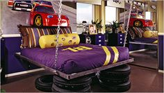 Car themed kids rooms - little boys (and some big boys) would love this idea! #tire  #upcycle