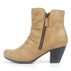Slouch style ankle boot with stitching detail across the vamp. Step out in stylish comfort in this cute scrunched bootie crafted in an intricate soft material with bilateral working zips for easy on-off.  Rialto Shoes Carlisle Sand Bootie Rialto