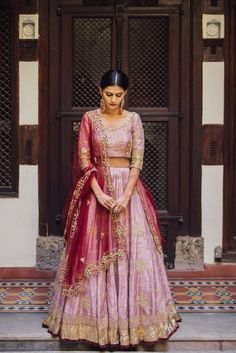Looking for Light pink lehenga with red dupatta for sister of the bride? Browse of latest bridal photos, lehenga & jewelry designs, decor ideas, etc. Indian Wedding Outfits, Pakistani Outfits, Indian Outfits, Indian Clothes, Wedding Dresses, Pink Lehenga, Bridal Lehenga, Lehenga Choli, Sharara