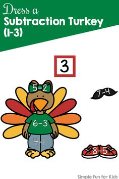 Practice subtraction with a cute turkey paper doll: Dress a Subtraction Turkey for kindergarten and first grade. {Part of the 7 Days of Turkey Printables for Kids series. Harvest Activities, Thanksgiving Activities For Kids, Autumn Activities For Kids, Printable Activities For Kids, Kids Learning Activities, Hands On Activities, Kindergarten Activities, Teaching Kids, Number Activities