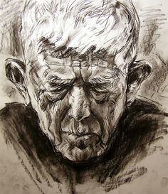 Oskar Kokoschka. This mans age and sadness is displayed greatly through the charcoal medium. The charcoal gives great tone, texture and shape which reiterates what this man could be going through.