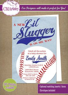 Lil Slugger Baseball Baby Shower Party Invitations **Need them today? DIY Printing Available**