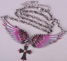Angel wing cross necklace women biker jewelry W/ crystal adjustable antique silver plated