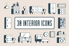 Interior icon pack consisting of 30 icons for each room of the hoem. Furniture Logo, Cheap Furniture, Online Furniture, Discount Furniture, Interior Design Website, Icon Pack, Icon Set, Icon Design, Scene