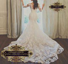 Wedding Dress,Lace Appliqued Mermaid Wedding Dress, Lace Long Sleeves Mermaid Bridal Dress on Etsy, $890.00