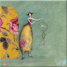 """Gaëlle Boissonnard toile sur châssis (40x40cm) """"Les papillons"""""""